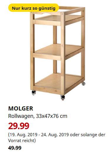 IKEA Düsseldorf - MOLGER Rollwagen, Birke, 33x47x76 cm - jetzt 40% billiger