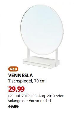IKEA Düsseldorf - VENNESLA Tischspiegel, weiß, 79 cm - jetzt 40% billiger