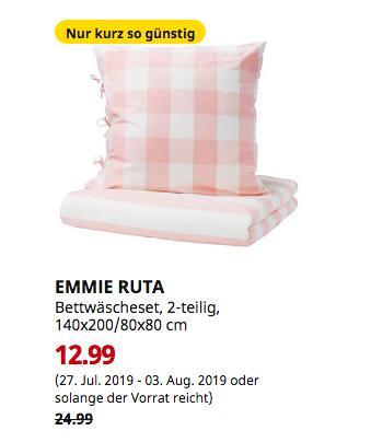 IKEA Duisburg - EMMIE RUTA Bettwäscheset, 2-teilig, hellrosa, weiß, 140x200/80x80 cm - jetzt 48% billiger