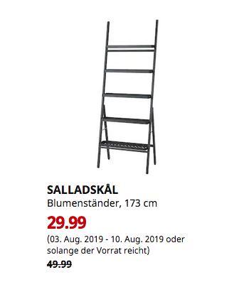 IKEA Duisburg - SALLADSKAL Blumenständer, für draußen, grau, 173 cm - jetzt 40% billiger