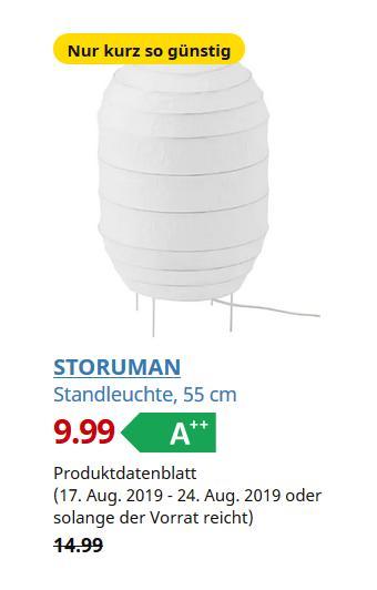 IKEA Duisburg - STORUMAN Standleuchte, weiß, 55 cm - jetzt 33% billiger