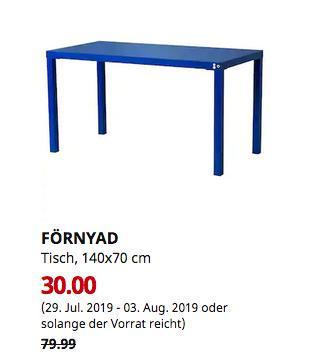 IKEA Erfurt - FÖRNYAD Tisch, blau, 140x70 cm - jetzt 62% billiger