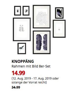 IKEA Erfurt - KNOPPÄNG Rahmen mit Bild 8er-Set, schwarz - jetzt 57% billiger