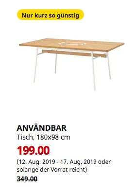 IKEA Frankfurt - ANVÄNDBAR Tisch, Bambus, weiß, 180x98 cm - jetzt 43% billiger
