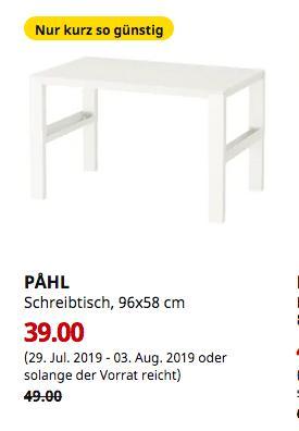 IKEA Frankfurt - PAHL Schreibtisch, weiß, 96x58 cm - jetzt 20% billiger
