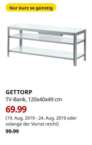 IKEA Großburgwedel - GETTORP TV-Bank, weiß, Aluminium, 120x40x49 cm - jetzt 30% billiger