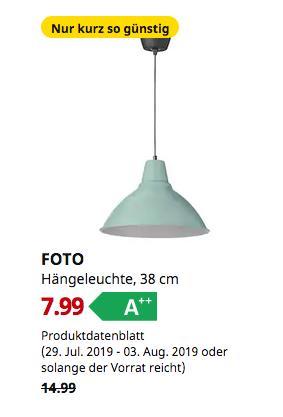 IKEA Hamburg-Moorfleet - FOTO Hängeleuchte, grün, 38 cm - jetzt 47% billiger