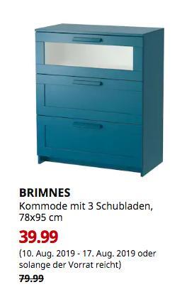 IKEAHamburg-Schnelsen - BRIMNES Kommode mit 3 Schubladen, dunkel grünblau, Frostglas, 78x95 cm - jetzt 50% billiger