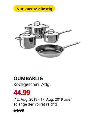 IKEA Hanau - OUMBÄRLIG Kochgeschirr 7-tlg. - jetzt 18% billiger