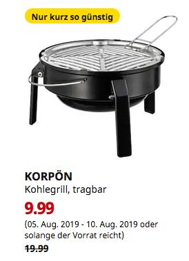 IKEA Köln-Godorf - KORPÖN Kohlegrill, tragbar, schwarz - jetzt 50% billiger