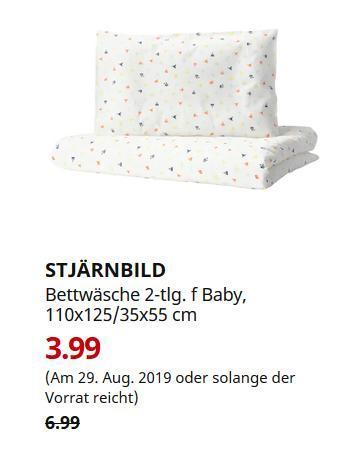 IKEA Koblenz - STJÄRNBILD Bettwäsche 2-tlg. für Baby, bunt, 110x125/35x55 cm - jetzt 43% billiger