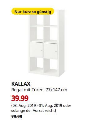 IKEA Ludwigsburg - KALLAX Regal mit Türen, weiß, 77x147 cm - jetzt 50% billiger
