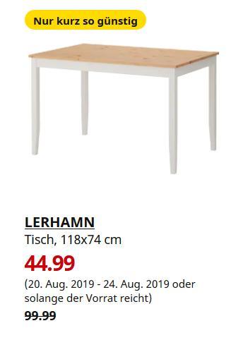 IKEA Ludwigsburg - LERHAMN Tisch, Antikbeize hell, weiß gebeizt, 118x74 cm - jetzt 55% billiger