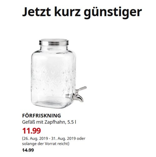 IKEA München-Brunnthal - FÖRFRISKNING Gefäß mit Zapfhahn, 5.5 l - jetzt 20% billiger