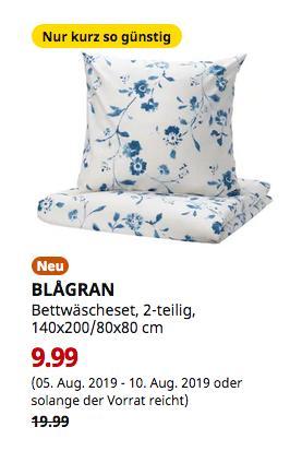 IKEA Magdeburg - BLAGRAN Bettwäscheset, 2-teilig, weiß, blau, 140x200/80x80 cm - jetzt 50% billiger