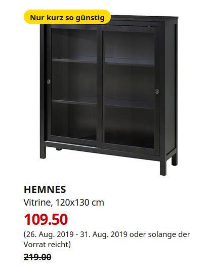 IKEA Magdeburg - HEMNES Vitrine, schwarzbraun, 120x130 cm - jetzt 50% billiger