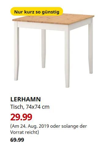 IKEA Oldenburg - LERHAMN Tisch, Antikbeize hell, weiß gebeizt, 74x74 cm - jetzt 57% billiger