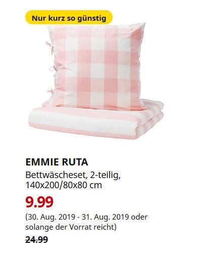 IKEA Saarlouis - EMMIE RUTA Bettwäscheset, 2-teilig, hellrosa, weiß, 140x200/80x80 cm - jetzt 60% billiger