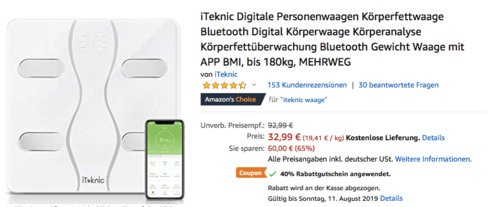 iTeknic Digitale Personenwaage/Körperfettwaage, bis 180kg - jetzt 40% billiger