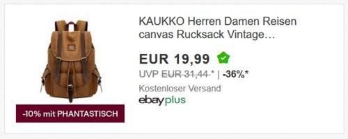 KAUKKO Herren Damen Canvas-Rucksack, Khaki - jetzt 53% billiger