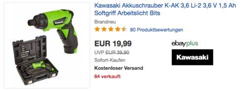 Kawasaki K-AK 3,6 Li-2 Akkuschrauber-Set mit Koffer und Bits - jetzt 13% billiger