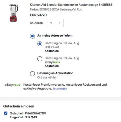 Kitchen Aid 5KSB1585 Standmixer, versch. Farben - jetzt 28% billiger