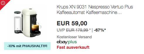 Krups XN 9031 Nespresso Vertuo Plus Kapselmaschine, weiß - jetzt 37% billiger