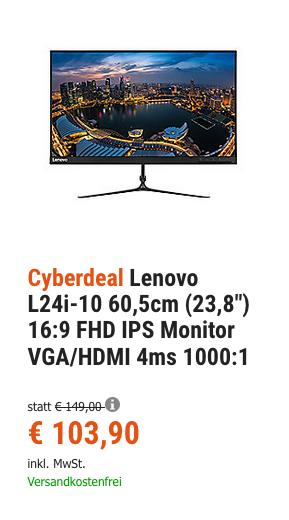 "Lenovo L24i-10 60,5cm (23,8"") Monitor - jetzt 16% billiger"