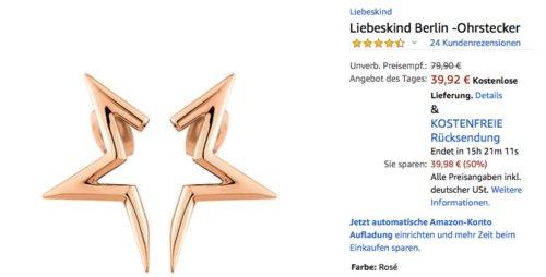 Liebeskind Berlin - Damen Half- Star Ohrstecker Rose (LJ-0121-E-24) - jetzt 20% billiger