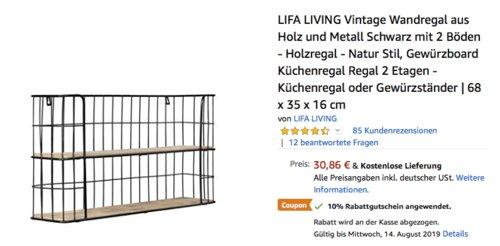 LIFA LIVING Vintage Küchenregal/Wandregal aus Holz und Metall, 68 x 35 x 16 cm - jetzt 10% billiger