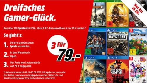 MediaMarkt Aktion: 3 Spiele (PS4, Xbox, PC, Nintendo Switch) für 49€, gilt bis 26.5.2019 - jetzt 28% billiger