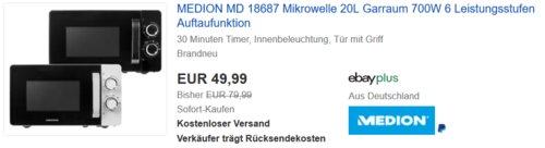 MEDION MD 18687 Mikrowelle 20 Liter, schwarz oder weiß - jetzt 11% billiger