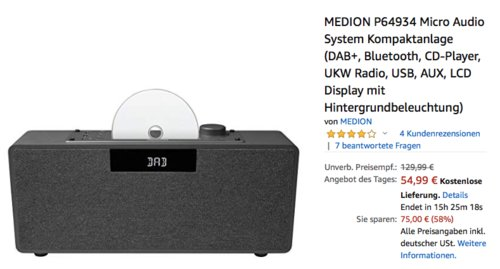 MEDION P64934 Micro Audio System Kompaktanlage (DAB+, Bluetooth, CD-Player, UKW Radio) - jetzt 31% billiger