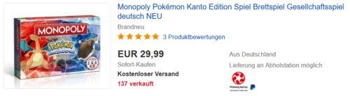 Monopoly Pokémon Kanto Edition Brettspiel, Deutsch - jetzt 32% billiger