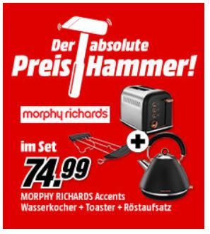 MORPHY RICHARDS Frühstücksset (Accents Pyramide Wasserkocher und Accents Toaster Rosegold inkl. Universal Brötchen-/Röstaufsatz) - jetzt 41% billiger