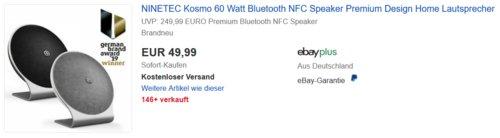 NINETEC Kosmo 60 Watt Bluetooth NFC Speaker, schwarz oder grau - jetzt 43% billiger