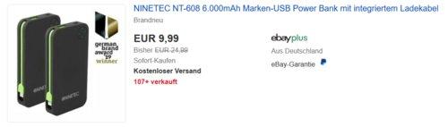 NINETEC NT-608 Powerbank mit integriertem Micro-USB oder Lightning Kabel, 6.000mAh - jetzt 20% billiger