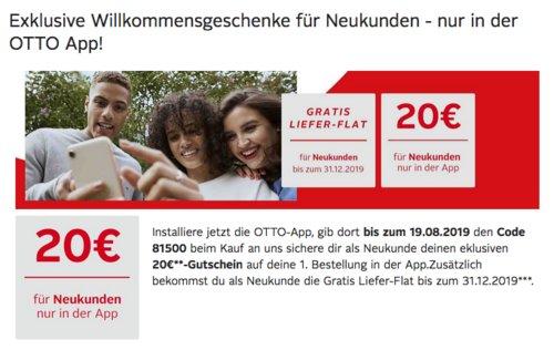 Otto.de - 20€ Rabatt und Gratis Liefer-Flat auf fast alles für Neukunden mit OTTO-App: z.B.  AEG VX7-2-IW-S Bodenstaubsauger - jetzt 20% billiger