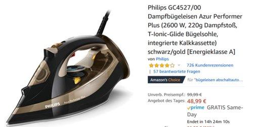Philips GC4527/00 Dampfbügeleisen Azur Performer Plus (2600 W, 220g Dampfstoß) - jetzt 16% billiger