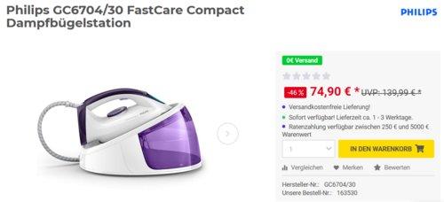 Philips GC6704/30 FastCare Compact Dampfbügelstation, 5,2 bar - jetzt 21% billiger