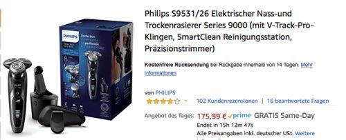 Philips S9531/26 Elektrischer Nass-und Trockenrasierer mit Präzisionstrimmer - jetzt 35% billiger