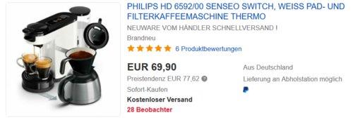 Philips Senseo Switch HD6592/00 Pad- und Filterkaffeemaschine, weiß - jetzt 9% billiger