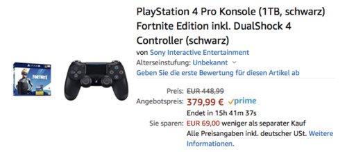 PlayStation 4 Pro 1TB Konsole Fortnite Neo Versa Edition inkl. DualShock 4 Controller, schwarz - jetzt 9% billiger