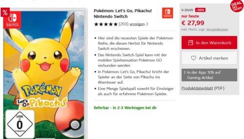Pokémon: Let´s Go, Pikachu! - [Nintendo Switch] - jetzt 15% billiger