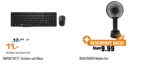 RAPOO 18177 Tastatur und Maus Set inkl. REALPOWER Mobiler Akku-Ventilator - jetzt 48% billiger