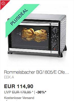 Rommelsbacher BG1805/E Minibackofen mit Umluft & Drehspieß, 42 Liter - jetzt 10% billiger