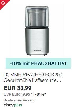 ROMMELSBACHER EGK200 elektrische Gewürzmühle/Kaffeemühle mit 2 auswechselbare Edelstahlbehälter - jetzt 10% billiger