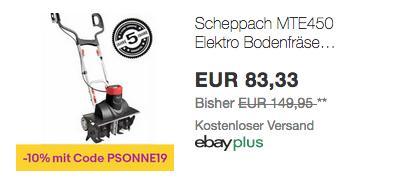 Scheppach MTE450 Elektro- Motorhacke/Bodenfräse, 45 cm Arbeitsbreite - jetzt 10% billiger