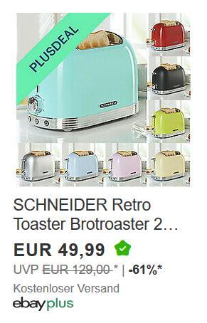 SCHNEIDER Retro Toaster, versch. Farben - jetzt 10% billiger