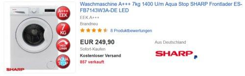 Sharp ES-FB7143W3A-DE Waschmaschine (A+++, 7kg, 1400 U/m) - jetzt 12% billiger